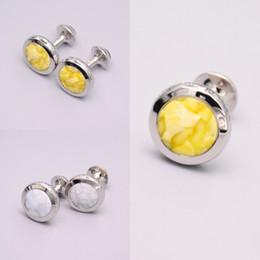 Wholesale High Quality Groom Shirts - Luxury Men Yellow White Stone Cufflinks High Quality Lawyer Groom Father Wedding Shirt Cuff Links Buttons