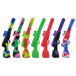 Wholesale smoke silicone - 4.3 inch Silicone Rifle Hand Pipe with Metal Bowl Oil Rig Hookah Wax Pen Smoking Pipes 420 Small Gun Sneak A Toke