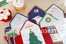 Wholesale Christmas Envelope Stickers - Wholesale- New fashion animals tree series envelope style Christmas cards set   card + sticker   wholesale