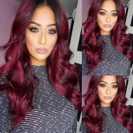 Wholesale Long Dark Red Hair - Ombre Burgundy Full Lace Human Hair Wigs Two Tone T1b 99j Body Wavy Malaysian Virgin Hair Wine Red 150% Density Lace Front Wigs
