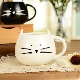 Cerámica kawaii online-Porcelana 400 ml Precioso diseño de gato lindo Taza de café Cerámica Blanco y negro Kawaii Cat Lovers Tazas Desayuno Taza de leche Taza de té Taza de jugo