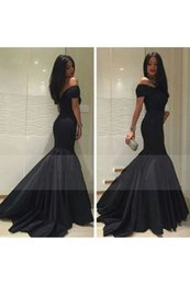 Wholesale Cheap Occasion Wear - 2018 Charming Black Off The Shoulder Mermaid Evening Dresses With Ruffles Satin Sweep Train Plus Size Cheap Special Occasion Wear Prom Dress