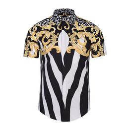 Camisas únicas de los hombres online-Los hombres de verano de manga corta de flores Camisas de vestir única Medusa camisa de moda 3D de impresión de lujo Harajuku hombres Camisas de vestir única Medusa