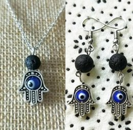 Discount evil eye necklace black - Lava Diffuser Jewelry Sets Evil Eye Hamsa Hand Lava-rock Pendant Necklaces Earrings Aromatherapy Essential Oil Diffuser Natural Black Lava