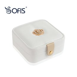 Wholesale rectangle wedding rings - Luxury New Jewelry Organization Box Watch Case Portable Jewelry Boxes Storage Rings Bracelet Box Ear Stud Wedding Gift for Girl