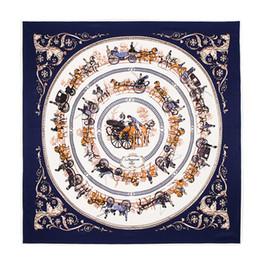 Wholesale Design Gold Letter Ring - High Qualtiy luxury brand 100%l silk scarf Womens scarf Size 100x100cm Scarves horse car pattern Print design Scarf for women Shawl A5520