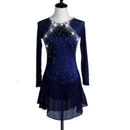 2019 eiskunstlaufkleider Eiskunstlaufkleid Damen Mädchen Eislaufkleid Royal Blue Spandex Strass Stretchy Performance Wear Handmade günstig eiskunstlaufkleider