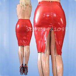2019 traje fetiche feminino Novas mulheres sexy handmade látex saia curta de volta zipper 100% fetiche de borracha natural mini saias trajes de vestuário exótico para o Sexo Feminino traje fetiche feminino barato