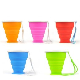 Wholesale Retractable Portable Cup - 200ml 4.5 9cm*8cm Portable Outdoor Travel Cup Silicone Retractable Folding Water Bottle with Lids Telescopic Collapsible Drinkware