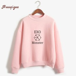 Wholesale Bts Kpop - Kpop Exo Sweatshirt Women Autumn Winter Harajuku Casual Hoodies Letters Printed Bts Fleece Pullover K-pop Clothes Drop Shipping