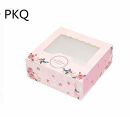 3 размер розовый цветок печатных свадебный сыр торт бумажная коробка конфеты контейнер свадебный подарок упаковка бумаги картонная коробка с окном cheap container cake paper от Поставщики бумага для торта