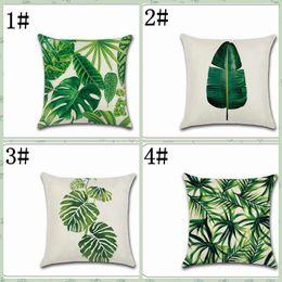 2019 cuscini tropicali New Tropical Plant Moda Foglia Rainforest Pillow Case Cuscino Cotone Verde Digital Print Pattern Vita Federa Morbida sconti cuscini tropicali