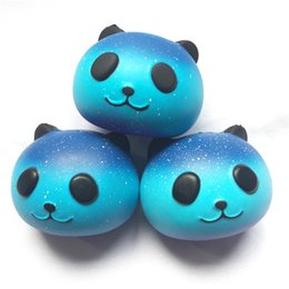 Wholesale food apples - Squishy Starry Sky Panda Face Head Jumbo 9cm Slow Rising Relieve Stress Cake Kawaii Food Strap Phone Pendant Key Chain Toy Gift A007