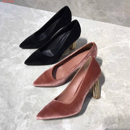 c947c633d4b Classic Women luxury Brand High Heels Pointy Toe velvet Dress Shoes  original quality Shallow Mouth fashion and sexy high quality