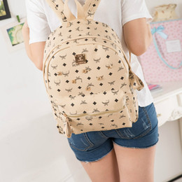 Wholesale American Splits - MCM 2018 high quality PU European and American style rivets outdoor sports double shoulder bag student bag travel backpack free delivery