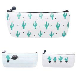 Wholesale Types School Bags - New Cute Cactus Pencil Pen Case Cosmetic Makeup Bag Storage Purse School Stationery Pouch HG99