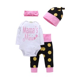 polka dot baby bodysuit Promo Codes - Casual Autumn Newborn Infant Clothes New Baby girl Long Sleeve Bodysuit Tops+Polka Dot Pants+Hat+Headband 4pcs Outfit Clothing