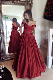 Elegant Red Wine Ball Gowns Prom Dresses Off Shoulder Crystal Beaded Sash Satin Floor Length Dark Red Backless Evening Dresses