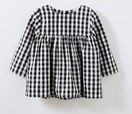 Wholesale Cheap European Clothes - Ins 2018 Girls Todder Dress Plaid Flutter sleeve Kids clothing 100%cotton Summer Cheap price wholesale 1T-6T