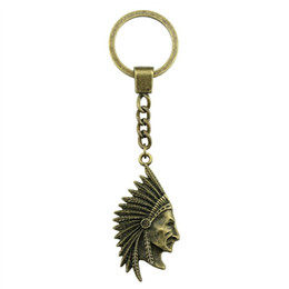 Fascino chiave indiano online-Portachiavi Donna Portachiavi Donna 6 pezzi Portachiavi Auto con charms Capo indiano Tribale Capo tribale 55x28mm
