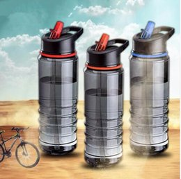 Wholesale Cycle Tools - 750ml Flip Straw Drinks Bottle Sport Water Bottle For Cycling Hiking Caming Drinking Tools water bottle KKA4482