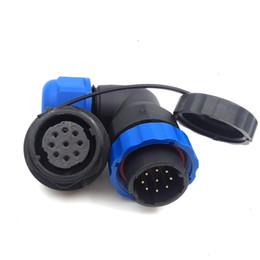 conectores de cable ip68 Rebajas Conector de cable de alimentación a prueba de agua SD20 9 pines, conectores de aviación electrónicos de alto voltaje de ángulo recto de 5A 250V, enchufe de enchufe de corriente IP68 LED