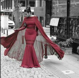 Vestidos de noite on-line-Burgundy Evening Dresses with Cape Chiffon Sheer Waist Floor Length Formal Elegant Mermaid Arabic Evening Gowns 2018 vestidos de fiesta