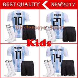 2018 Argentina kids Soccer Jersey 18 19 Argentina kit calcetines Jersey  Home DYBALA soccer Camiseta Messi Aguero Di Maria Uniforme de fútbol  infantil ... 32c0dd76c4498
