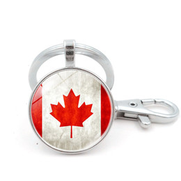 Wholesale rings canada - Canada national flag key chain Vintage Time Gem Cabochon key ring Bronze and silver color key holder