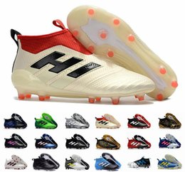 Wholesale Ups Ground - New Ace 17+ Purecontrol FG Champagne Outdoor Soccer Cleats Firm Ground Cleats Trainers Boost FG NSG ACE 17 Mens Football Boots Shoes