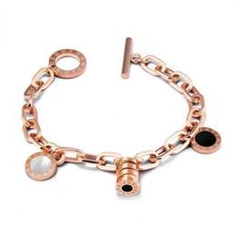 fascino braccialetto roma Sconti Bracciale di lusso con figure di Roma - Bracciale in acciaio inossidabile in oro rosa per le donne - Gioielli personalizzati con bracciale a forma di braccialetto
