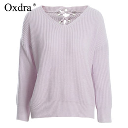 lacer pull en tricot Promotion Oxdra 2018 Pulls Pulls Loose V Cou Solid Pull Back Lace up Fashion Trendy Knit Femmes Vêtements Automne Hiver Chaud