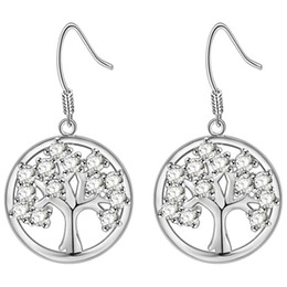 Wholesale roses christmas tree - CZ Zircon Stone Tree Of Life Drop Earrings For Woman Delicate Fashion Rose Gold Trees Chandelier Pendante Earings Christmas Gift D657S
