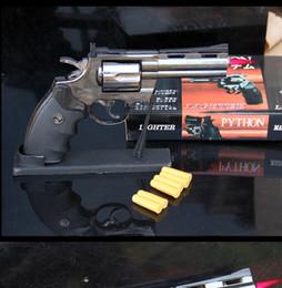 Forma di pallottola in metallo online-Revolver Python 357 shape jet torch accendisigari Antivento butano gas 1 in 1 scala in plastica + metallo Gun con proiettili Holder