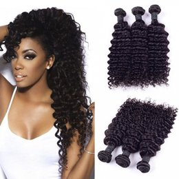 Wholesale indian remy curls - Indian Deep Wave Curl 100% Unprocessed Human Virgin Hair Weaves 8A Quality Remy Human Hair Extensions Human Hair Weaves Dyeable 3 bundles