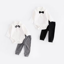 Wholesale Boys Rompers 18 Months - 2017 Fashion Baby Boy Clothes Sets Gentleman rompers +pants Suit Long Sleeve Kids Boy Clothing Set kids clothes