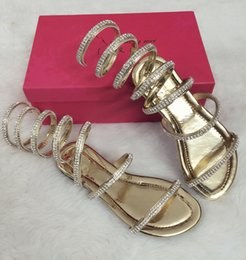 Wholesale Roman Crystal - Wholesale- Summer woman sandals Crystal Sexy Women Gladiator Sandal women Boots Snake Flat Shoes Roman shoes plus size 3.5-15 Free shipping