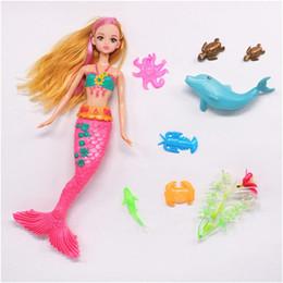Wholesale Wholesale Mermaid Dolls - Mermaid Princess Doll Toy, 9pcs set Plastic Princess Ariel Little Mermaids Dolls Model, Kids Toys, Girls Gift, Brinquedos Animal