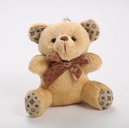 lazo de oso de peluche Rebajas 9 cm Lindo Pompom Teddy Plush Doll Llavero Pequeño Pajarita Oso Juguete Colgante Llavero Bolso de Las Mujeres Bolsa de Coche Llavero Regalo de San Valentín