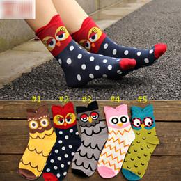 Calcetines de corea online-4 colores Corea estilo Cartoon Stereo Owl Socks mujeres Big Girl 85% algodón Cartoon Socking medio tubo calcetines B001