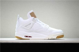 Wholesale jeans cut man - 2018 New 4 Denim Jeans Travis White Jean Men IV 4S Shoes Black Sports Sneakers Trainers Basketball Shoes With Box