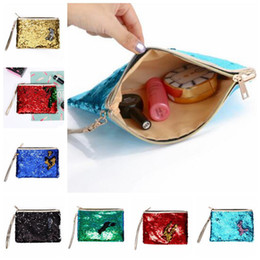 Wholesale diy clutch bag - 7 Colors DIY Mermaid Bling Sequin Evening Clutch Bag Reversible Sequins Coin Wallet Purse Makeup Storage Bags Shopping Totes CCA8850 50pcs