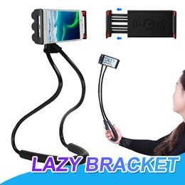 Wholesale neck phone holders - Lazy Bracket Universal 360 Degree Rotation Flexible Hanging on Neck Cell Phone Mount Holder Anti-skid Multifunctions For All Smart Phones