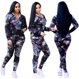 Wholesale Womens Casual Sets Pants - Two Piece Pant print Sportswear Hoodies+ Pants Leisure Women Jogging Sport Suit casual coat tracksuit Womens set Outfits