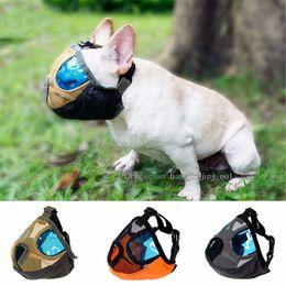 Wholesale Masks For Mouth - Nylon Mesh Short Snout Pet Dog Muzzle Breathable Anti Bite Chew Stop Barking Dog Mouth Eyes Mask For Bulldog DDA502