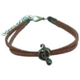 Гитарные браслеты онлайн-Multi-layer leather rope woven bracelet 8 word musical guitar pendant simple fashion friendship bracelet