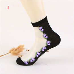 Wholesale Transparent Glass Socks - 1Pair Beautiful Women Lace Socks Crystal Glass Silk Short Thin Transparent Roses Flower Socks