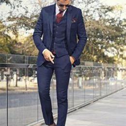 Wholesale Grey Bespoke Tuxedo - Custom Made Dark Blue Mens Suit Tailor Made Suit Bespoke Light Navy Blue Wedding Suits For Men Slim Fit Groom Tuxedos For Men