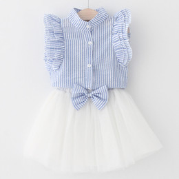 Wholesale tulle bow stripe - Summer new girls tiered falbala fly sleeve stripes shirts+Bows lace tulle tutu elastic skirts 2pcs sets children kids outifts clothing Y5105