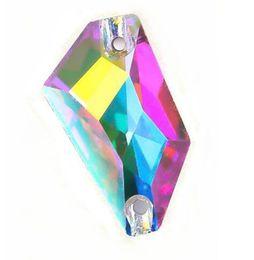 Бисер шить онлайн-Высокое качество 12x24mm стекло K9 ромб Кристалл шить на камень страз flatback 2holes Кристалл ясно Ab шить бусы